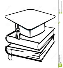 toga hat and books coloring page stock illustration image 87361891