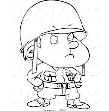 cartoon vector of cartoon strict soldier boy coloring page