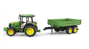 bruder farm toys john deere 5115m tractor toy with tilting trailer by bruder