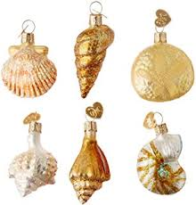 6 blown glass shell seashell ornaments home