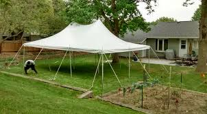 backyard tent rental backyard party with a 20 x 30 rope and pole tent in iowa city ia
