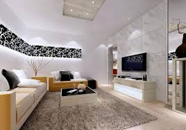 colorful modern furniture beige comfy sofa black bricks combine colorful modern living room