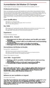 Sample French Resume by Humanitarian Aid Worker Cv Sample Myperfectcv