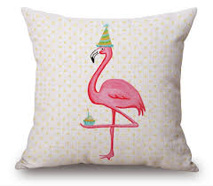 pink flamingo pillow cover love kiss home decor cushion cover