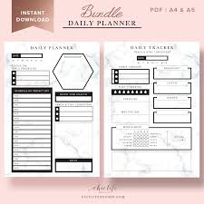 design planner daily planner bundle hourly with marble texture chic life design