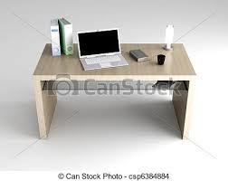 bureau table dessin bureau rendu illustration bois isolé white desktop