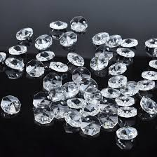 com h d 50pcs 18mm clear crystal 2 hole octagon beads glass chandelier prisms lamp hanging parts garden outdoor