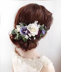 bridal hair clip amelie white and purple flower bridal hair clip