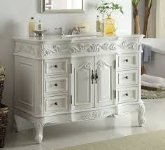 Dresser Style Bathroom Vanity by Adelina 48 Inch Traditional Style Antique White Bathroom Vanity