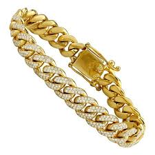 gold link bracelet with diamonds images Diamond cuban link bracelet in 14k yellow gold 8 inches 7 ctw jpg