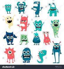 cartoon flat monsters big icons stock vector 405678577