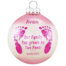 personalized pink baby footsteps glass ornament baby u0026 new