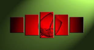 5 piece wine glass red canvas art prints