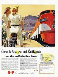 California travel by train images Arizona to california southern pacific train ad 1950 golden jpg