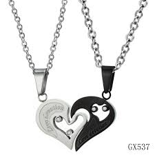 couple heart pendant necklace images King queen couple necklace glossy titanium steel crown pendant jpg