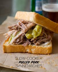 slow cooker pickled pulled pork sandwiches spoon fork bacon