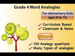 samples from 4th grade word analogy app youtube