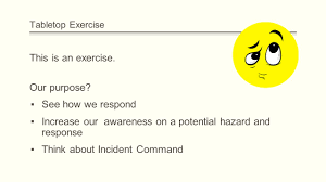 incident command table top exercises the package tabletop exercise suspicious items at ksu ppt