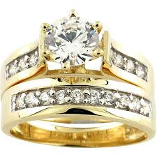 yellow gold bridal sets 10k yellow gold cubic zirconia wide band bridal set free