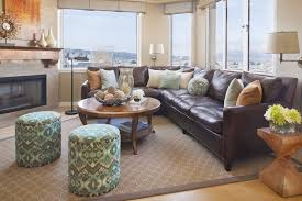 Decorating With Brown Leather Sofa Living Room Brown Sofa Furniture And White Coffee Table Above