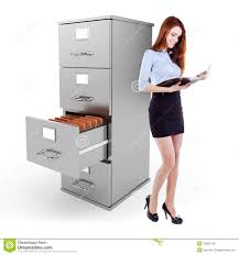 Kitchen Cabinet Business Business Woman Holding A File Standing Near A 3d File Cabinet