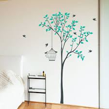 wall art and stickers shenra com tree with hanging bird cage wall sticker wallboss wall stickers