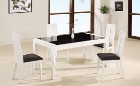 white lacquer finish modern 5pc dinette set w black glass top