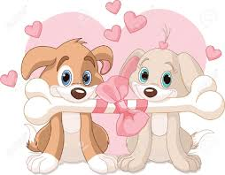 two valentine dogs holding decorated bone royalty free cliparts