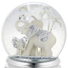 personalized elephant and calf musical water globe add your