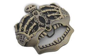 dark gold metal skull skeleton bones pirate king crown belt buckle