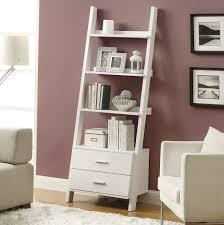 Corner Drawers Furniture Interesting Ladder White Corner Bookshelf With Two