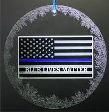 thin blue line blue lives matter american flag ornament