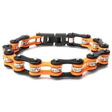 black chain bracelet images Black orange bike chain bracelet with crystals cycle heart jpeg