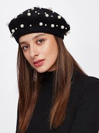 barret hat faux pearl beret hat shein sheinside