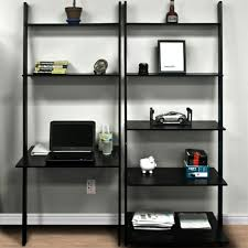 Bookcase With Ladder Leaning Shelves Desk Best Home Furniture Decoration
