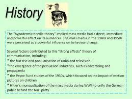 history the hypodermic needle theory implied mass media had a