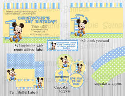 Baby Boy First Birthday Invitation Cards Mickey Mouse 1st Birthday Clip Art 82