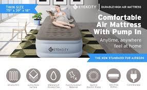 amazon com etekcity upgraded air mattress blow up elevated