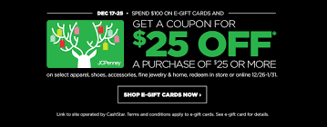 gift card offers jcpenney 25 25 coupon with 100 in gift cards combine with