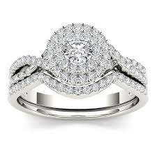 diamond double rings images 1 10 carat round diamond double halo wedding ring set for her jpg