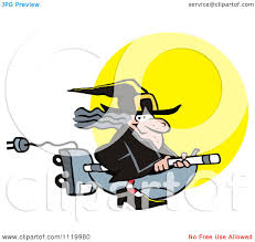 cartoon of a halloween witch flying on a vaccuum over a full moon