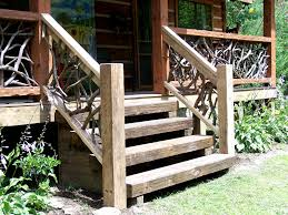 Outdoor Banisters And Railings Log Stairs And Custom Railings By Appalachian Designs
