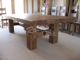 Rustic Oak Dining Tables A Chunky Rustic Looking H Base Dining Table To Spruce Up Any