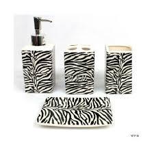 Zebra Themed Bathroom 22pc Bath Accessories Set Black Zebra Animal Print Bathroom Rugs