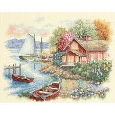 peaceful lake house counted cross stitch kit 14 x 11 5465451 hsn