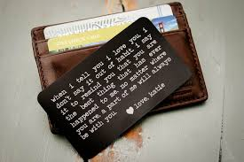 personalized wallet insert engraved wallet card father of