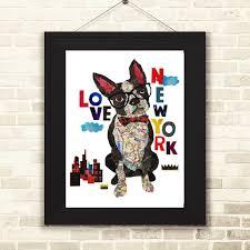 Boston Terrier Flag Map Dog Love Boston Terrier Dog Art U2013 Pinky Pilots New York