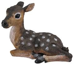 lying baby deer fawn outdoor statue 14 traditional