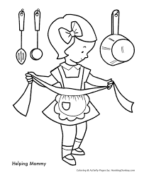 helping mom christmas cookies coloring pages christmas