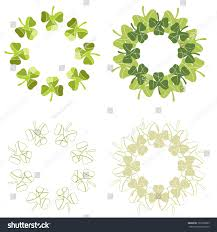 jpg version set circular shamrock designs stock illustration